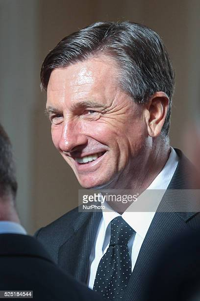 Ljubljana 13 January Slovenian president Borut Pahor on the picture decorated president of the Italian region of FriuliVenezia Giulia Debora...