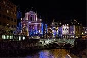 Night view of Ljubljana at Christmas time