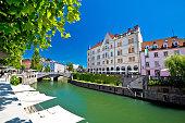 Ljubljana city center on green Ljubljanica river, capital of Slovenia