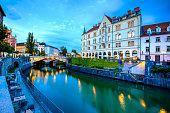 Ljubljana streets seen at the blue hour, Slovenia