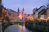Photo of Ljubljana, decorated for New Year's and Christmas celebration