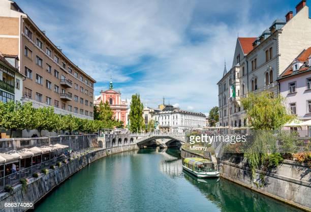 Ljubljana in Slowenien Sommer Ljubljanica Fluß