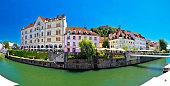 Ljubljana on green Ljubljanica river panorama, capital of Slovenia