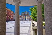 Ljubljana pavilion and church of Holy Trinity view, capital of Slovenia