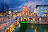 Image of Ljubljana, Slovenia during twilight blue hour.