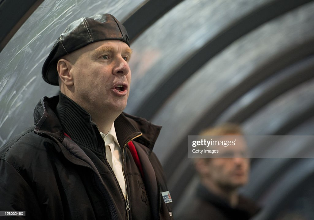Ljubljana's head coach Bojan Zajc looks on during the Erste Bank Eishockey Liga match between EC Red Bull Salzburg and HDD TELEMACH Olimpija Ljubljana at Eisarena Salzburg on December 9, 2012 in Salzburg, Austria.