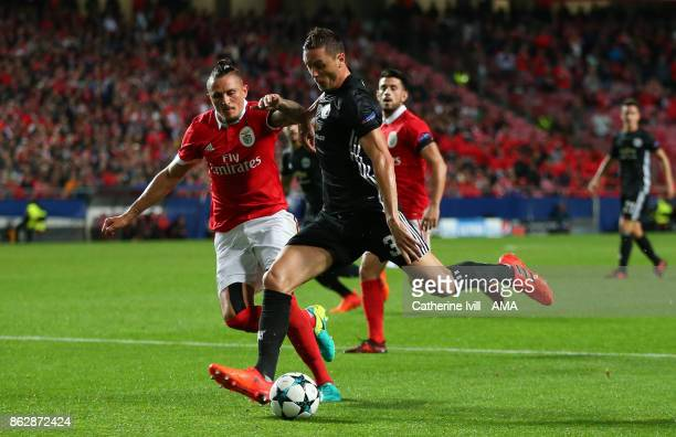 Ljubomir Fejsa of Benfica and Nemanja Matic of Manchester United during the UEFA Champions League group A match between SL Benfica and Manchester...