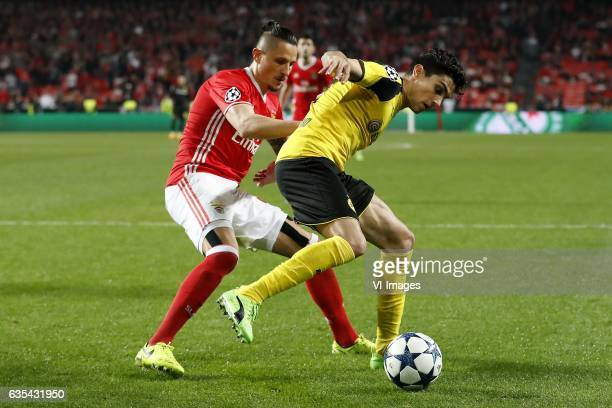 Ljubomir Fejsa of SL Benfica Marc Bartra of Borussia Dortmundduring the UEFA Champions League round of 16 match between SL Benfica and Borussia...