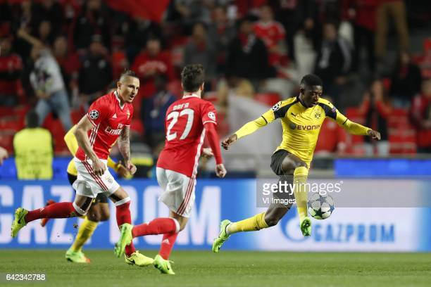 Ljubomir Fejsa of SL Benfica Rafa Silva of SL Benfica Ousmane Dembele of Borussia Dortmundduring the UEFA Champions League round of 16 match between...