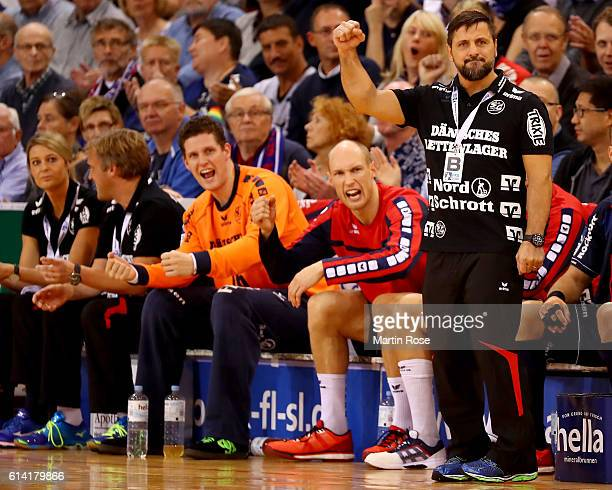 Ljubomir Vranjes head coach of Flensburg celebrates during the DKB HBL Bundesliga match between SG FlensburgHandewitt and VfL Gummersbach at...
