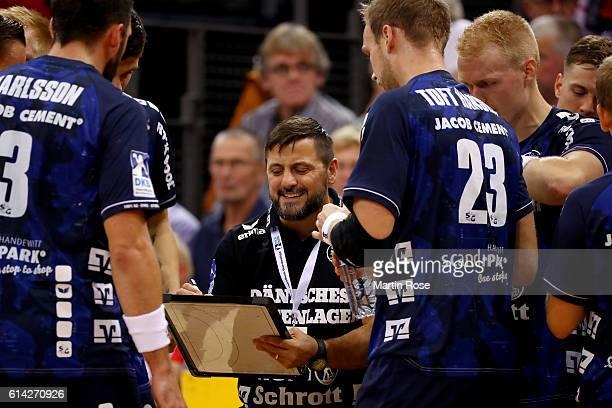 Ljubomir Vranjes head coach of Flensburg gives instructions during the DKB HBL Bundesliga match between SG FlensburgHandewitt and VfL Gummersbach at...