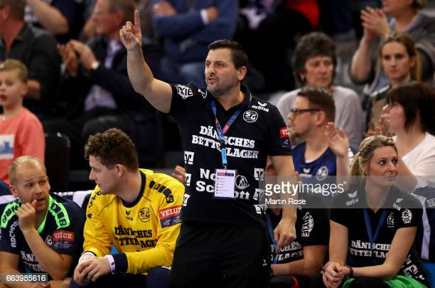 Ljubomir Vranjes head coach of Flensburg Handewitt reacts during the Velux EHF Champions League round of 16 second leg match between SG Flensburg...
