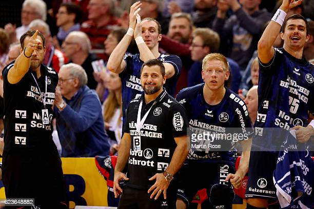 Ljubomir Vranjes head coach of Flensburg reacts during the DKB HBL Bundesliga match between SG FlensburgHandewitt and HBW BalingenWeilstetten at...