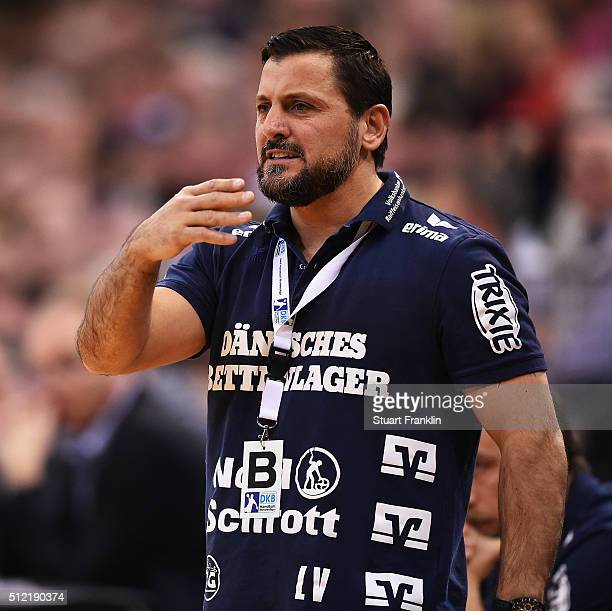 Ljubomir Vranjes head coach of Flensburg reacts during the DKB Bundesliga handball match between SG Flensburg Handewitt and SC DHFK Leipzig at...