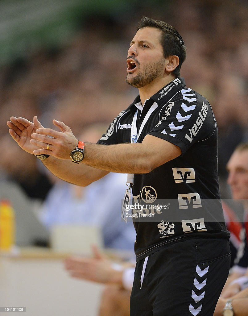 Ljubomir Vranjes, head coach of Flensburg reacts during the Toyota Bundesliga handball game between SG Flensburg-Handewitt and Rhein-Neckar Loewen at the Flens arena on March 20, 2013 in Flensburg, Germany.