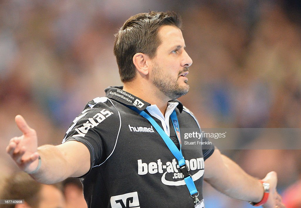 Ljubomir Vranjes, head coach of Flensburg reacts during the Velux EHF Champions League quarter final second leg match between HSV Handball and SG Flensburg-Handewitt at O2 World on April 28, 2013 in Hamburg, Germany.