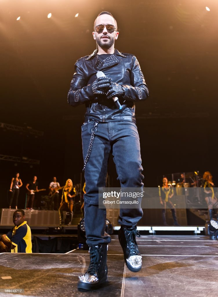 Llandel Veguilla Malave aka 'Yandel' of Wisin y Yandel performs during Lideres World Tour 2013 at the Liacouras Center on May 24 2013 in Philadelphia...
