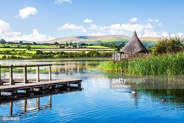Llangors Lake in the Brecon Beacons National Park Wales with the crannog on the far right