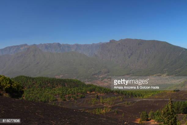Llanos del Jable volcanic landscape and Caldera de Taburiente in the background. La Palma island, Canary islands, Spain.