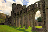 The magnificent ruins of Llanthony Priory situated in the Brecon Beacons, Wales, UK