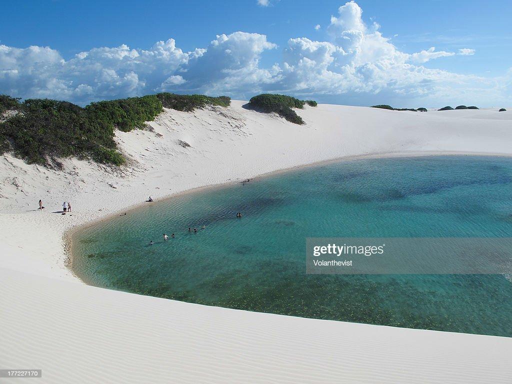 Llençoes Maranhenses - Blue lagoon in desert : Stock Photo