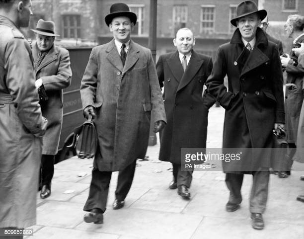 Llewellyn Jones and Sidney Stanley arrive at the tribunal of inquiry into allegations of corruption among British government ministers and civil...
