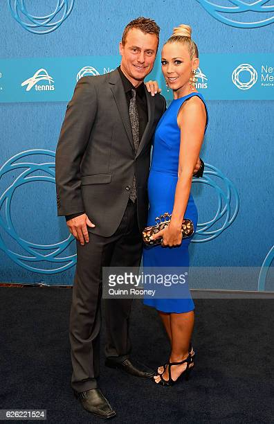 Lleyton Hewitt and Bec Hewitt pose as they arrive ahead of the 2016 Newcombe Medal at Crown Palladium on November 28 2016 in Melbourne Australia