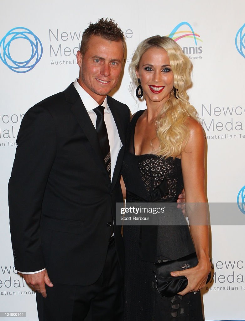 <a gi-track='captionPersonalityLinkClicked' href=/galleries/search?phrase=Lleyton+Hewitt&family=editorial&specificpeople=167178 ng-click='$event.stopPropagation()'>Lleyton Hewitt</a> and his wife Bec Hewitt arrive at the 2011 Newcombe Medal at Crown Palladium on December 5, 2011 in Melbourne, Australia.