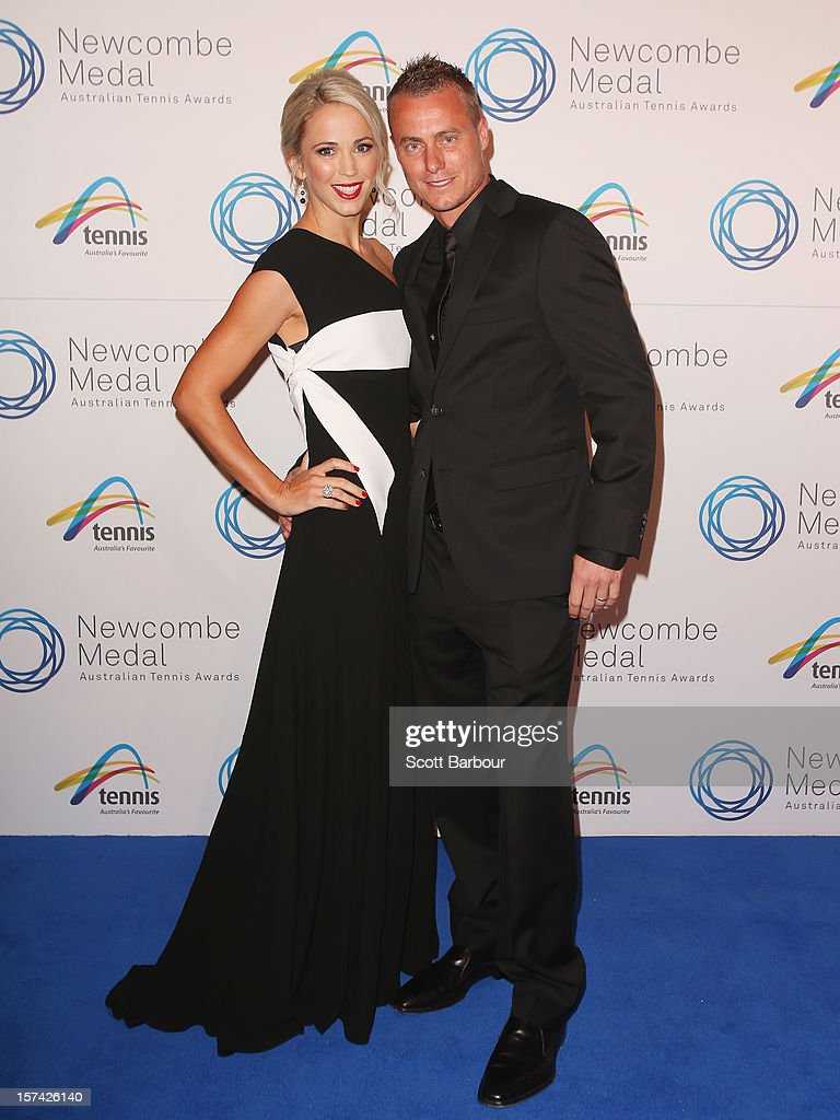 Lleyton Hewitt and his wife Rebecca 'Bec' Hewitt arrive ahead of the 2012 John Newcombe Medal at Crown Palladium on December 3, 2012 in Melbourne, Australia.