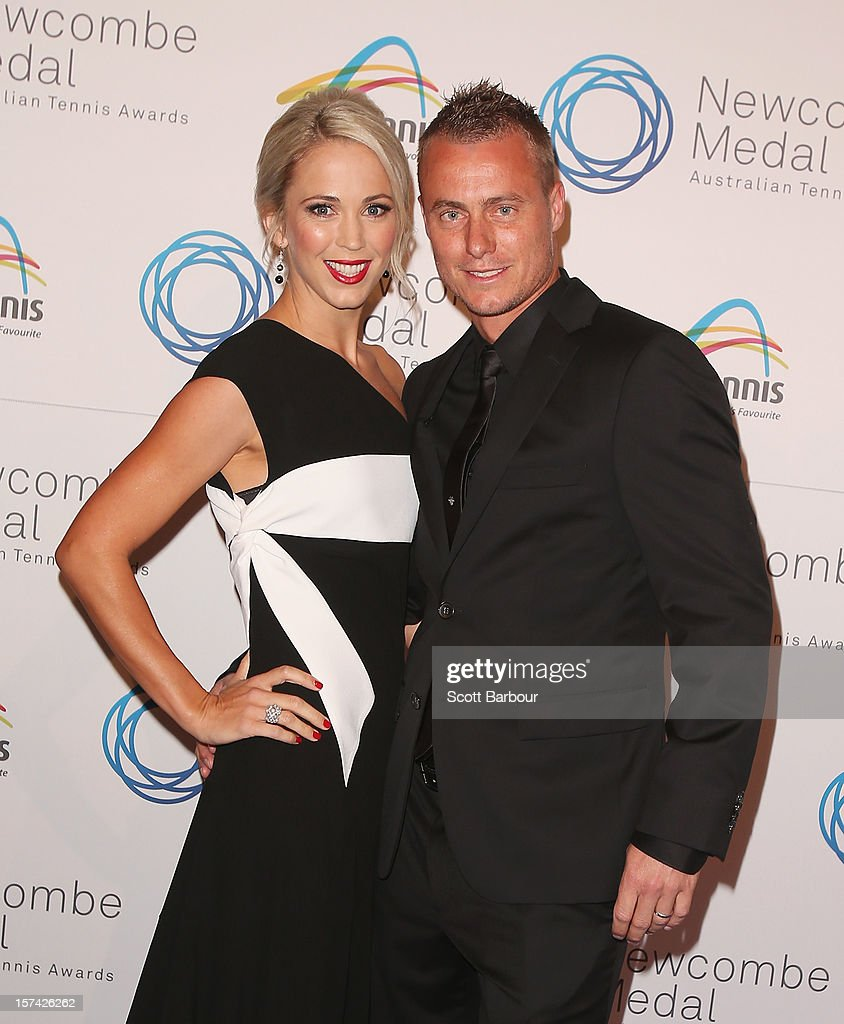 <a gi-track='captionPersonalityLinkClicked' href=/galleries/search?phrase=Lleyton+Hewitt&family=editorial&specificpeople=167178 ng-click='$event.stopPropagation()'>Lleyton Hewitt</a> and his wife Rebecca 'Bec' Hewitt arrive ahead of the 2012 John Newcombe Medal at Crown Palladium on December 3, 2012 in Melbourne, Australia.