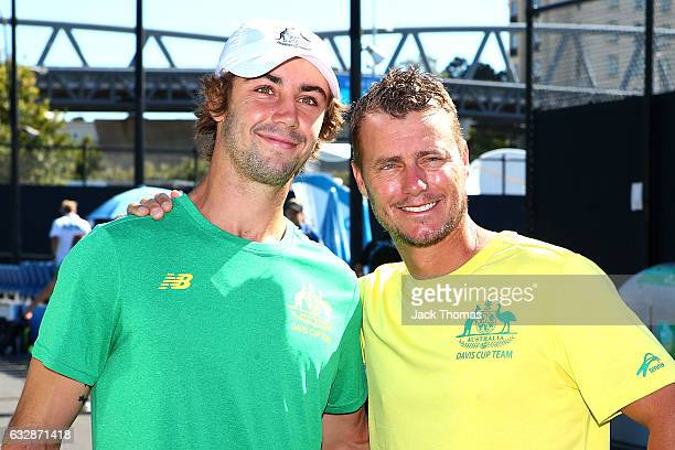 Lleyton Hewitt and Jordan Thompson of Australia pose for a photo after talking to the media about the upcoming Davis Cup action to be held at Kooyong...