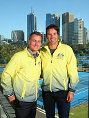 Lleyton Hewitt and Pat Rafter pose during a Tennis Australia media opportunity at Melbourne Park at Melbourne Park on October 27 2015 in Melbourne...