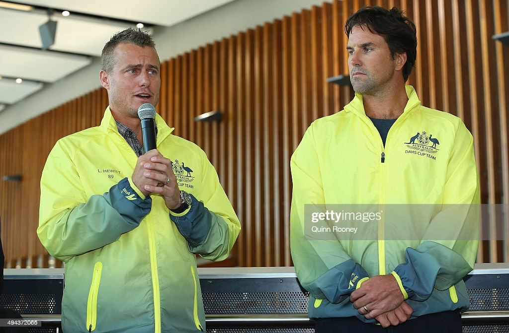 Lleyton Hewitt and Pat Rafter speak to the media during a Tennis Australia media opportunity at Melbourne Park at Melbourne Park on October 27, 2015 in Melbourne, Australia. Hewitt was today named as Australia's Davis Cup Captain.