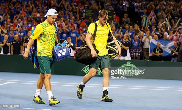 Lleyton Hewitt and Sam Groth of Austrailier loose their Doubles Semi Final Match against Andy Murray and Jamie Murray of Great Britain during day 2...