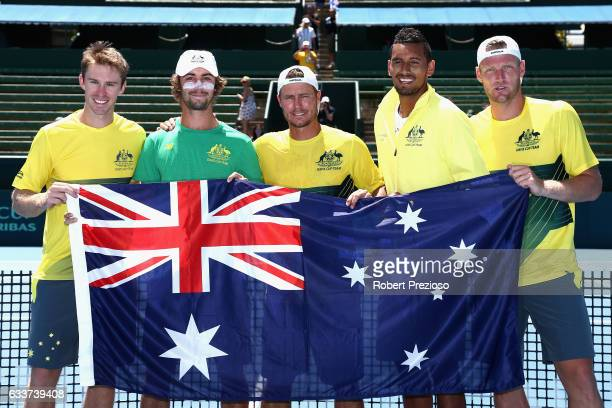 Lleyton Hewitt captain of Australia celebrates with teammates after Sam Groth and John Peers of Australia win in their doubles match and win the tie...