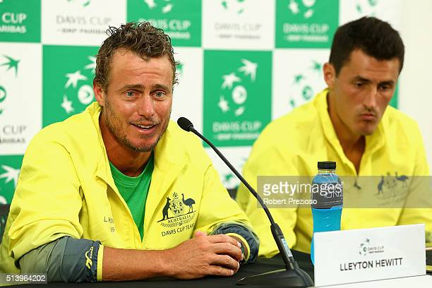 Lleyton Hewitt captain of Australia speaks to media after the Men's singles match between Bernard Tomic of Australia and John Isner of the United...