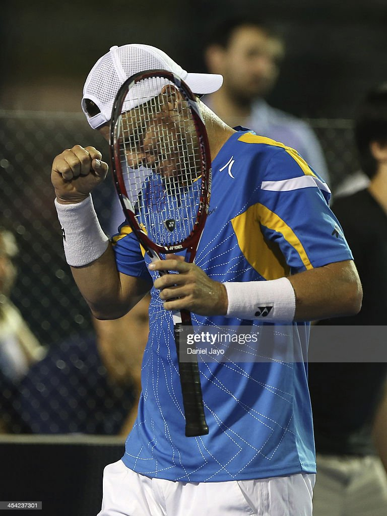 <a gi-track='captionPersonalityLinkClicked' href=/galleries/search?phrase=Lleyton+Hewitt&family=editorial&specificpeople=167178 ng-click='$event.stopPropagation()'>Lleyton Hewitt</a> celebrates during an exhibition match against Juan Martin Del Potro at Juan Carmelo Zerillo Stadium on December 07, 2013 in La Plata, Argentina.