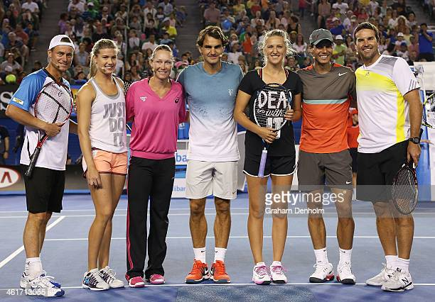 Lleyton Hewitt Eugenie Bouchard Samantha Stosur Roger Federer Victoria Azarenka Rafael Nadal and Pat Rafter pose following the Rod Laver Arena...