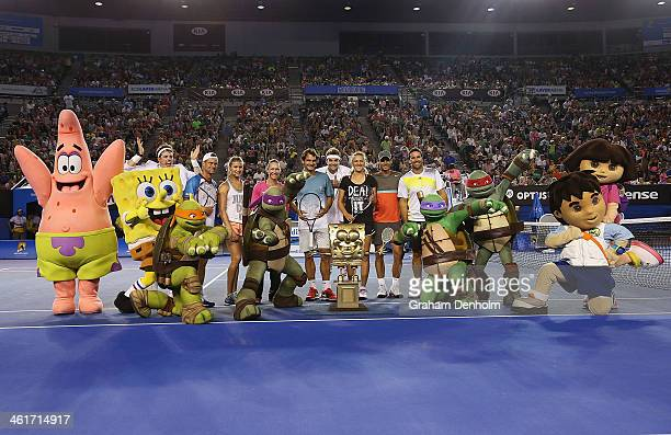 Lleyton Hewitt Eugenie Bouchard Samantha Stosur Roger Federer Victoria Azarenka Rafael Nadal Pat Rafter and Nickelodeon characters and presenters...