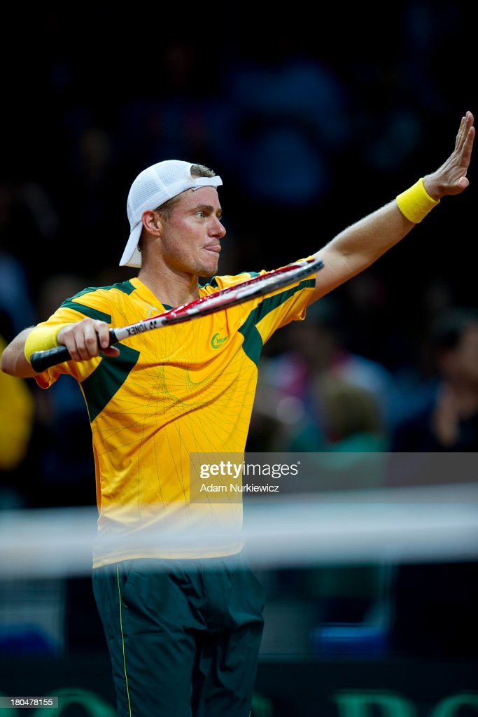 Lleyton Hewitt from Australia celebrates his victory in the first match during the Davis Cup match between Poland and Australia at the Torwar Hall, on September 13, 2013 in Warsaw, England.