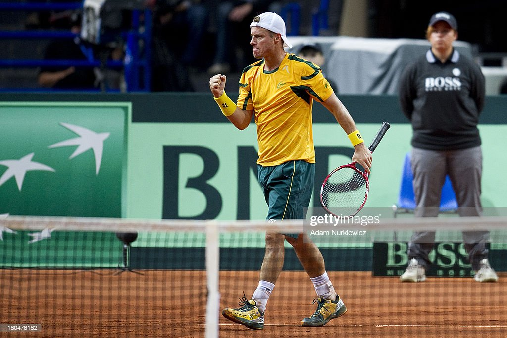 <a gi-track='captionPersonalityLinkClicked' href=/galleries/search?phrase=Lleyton+Hewitt&family=editorial&specificpeople=167178 ng-click='$event.stopPropagation()'>Lleyton Hewitt</a> from Australia reacts after winning point during the Davis Cup match between Poland and Australia at the Torwar Hall, on September 13, 2013 in Warsaw, England.