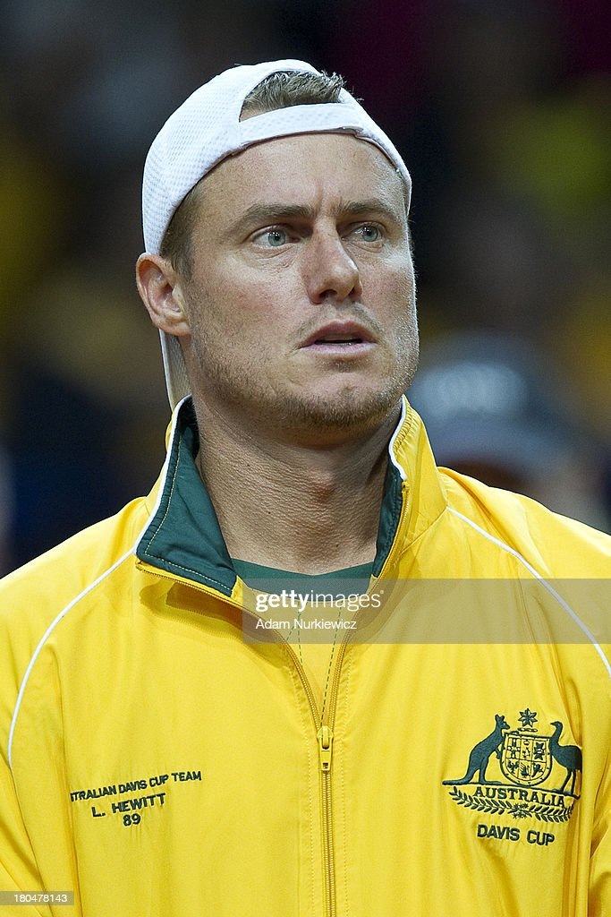 Lleyton Hewitt from Australia while national anthem before the Davis Cup match between Poland and Australia at the Torwar Hall, on September 13, 2013 in Warsaw, England.
