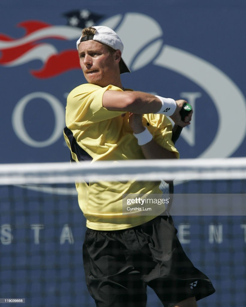<a gi-track='captionPersonalityLinkClicked' href=/galleries/search?phrase=Lleyton+Hewitt&family=editorial&specificpeople=167178 ng-click='$event.stopPropagation()'>Lleyton Hewitt</a> in action during his defeat of <a gi-track='captionPersonalityLinkClicked' href=/galleries/search?phrase=Dominik+Hrbaty&family=editorial&specificpeople=206181 ng-click='$event.stopPropagation()'>Dominik Hrbaty</a> in their 4th round match at the 2005 US Open at the National Tennis Center in Flushing, New York, September 6, 2005. Hewitt defeated Hrbaty 6-1, 6-4, 6-2 to advance to the quarterfinals.