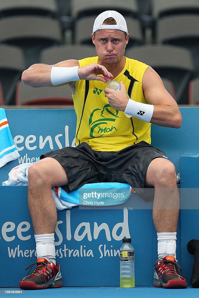 Lleyton Hewitt looks on during a practice session at Pat Rafter Arena on December 18, 2012, ahead of the 2013 Brisbane International in Brisbane, Australia.
