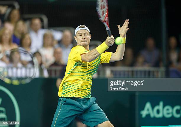 Lleyton Hewitt of Austrailier returns a shot from Jamie Murray of Great Britain during day 2 of the Great Britain v Australia Davis Cup Semi Final...