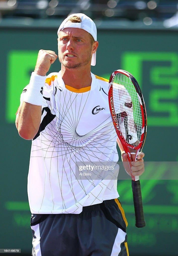 Lleyton Hewitt of Australia celebrates a point against Joao Sousa of Portugal during Day 3 of the Sony Open at at the Crandon Park Tennis Center on March 20, 2013 in Key Biscayne, Florida.