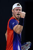 Lleyton Hewitt of Australia celebrates a point in his first round match against James Duckworth of Australia during day two of the 2016 Australian...