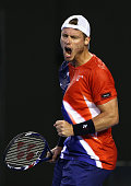 Lleyton Hewitt of Australia celebrates a point in his second round match against David Ferrer of Spain during day four of the 2016 Australian Open at...