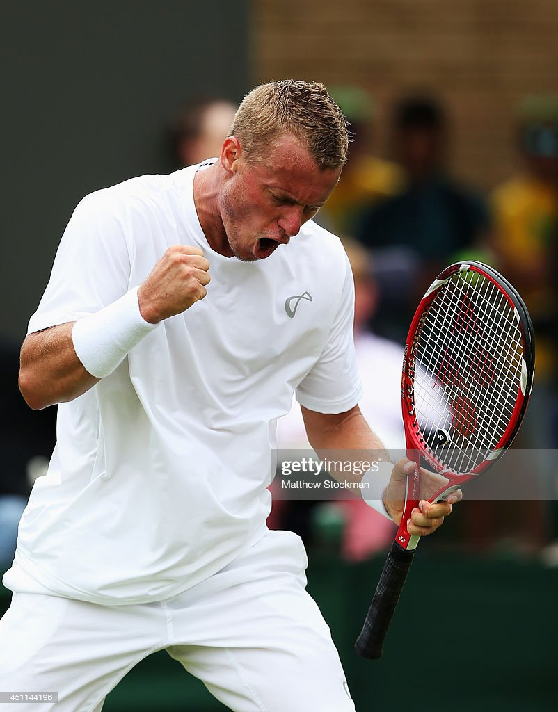 Lleyton Hewitt of Australia celebrates after winning his Gentlemen's Singles first round match against Michal Przysiezny of Poland on day two of the Wimbledon Lawn Tennis Championships at the All England Lawn Tennis and Croquet Club at Wimbledon on June 24, 2014 in London, England.