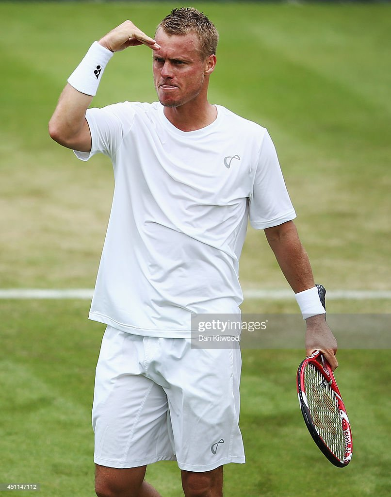 <a gi-track='captionPersonalityLinkClicked' href=/galleries/search?phrase=Lleyton+Hewitt&family=editorial&specificpeople=167178 ng-click='$event.stopPropagation()'>Lleyton Hewitt</a> of Australia celebrates after winning his Gentlemen's Singles first round match against Michal Przysiezny of Poland on day two of the Wimbledon Lawn Tennis Championships at the All England Lawn Tennis and Croquet Club at Wimbledon on June 24, 2014 in London, England.
